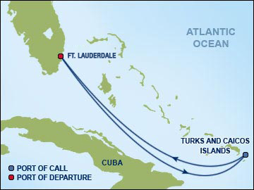 Ft. Lauderdale- Turks and Caicos routemap